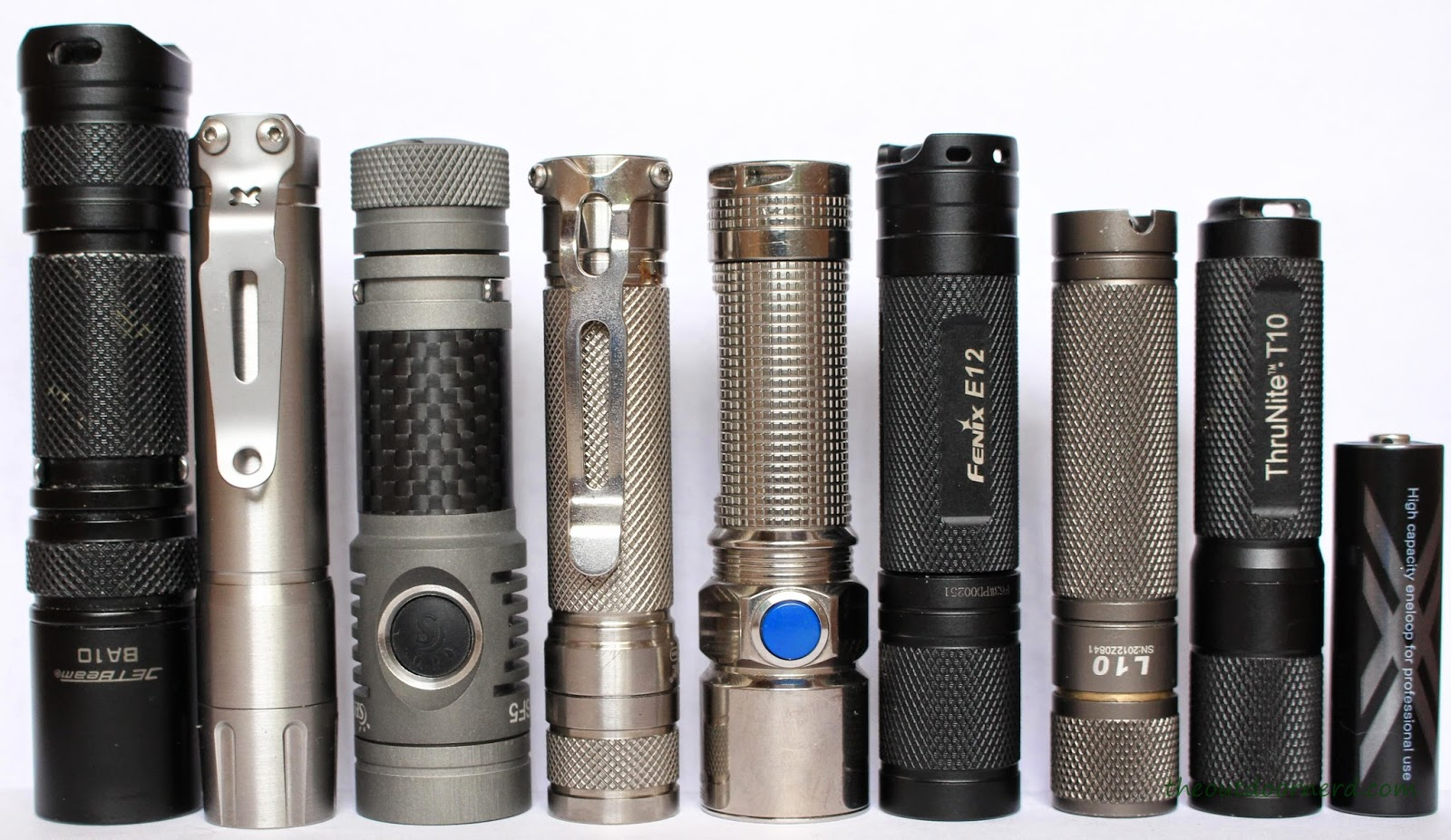 From Left: Jetbeam BA10, Thrunite T10S, Spark SF5 NW, EagleTac D25A Ti, Olight S15 Ti, Fenix E12, L3 L10, Thrunite T10, Eneloop Pro AA