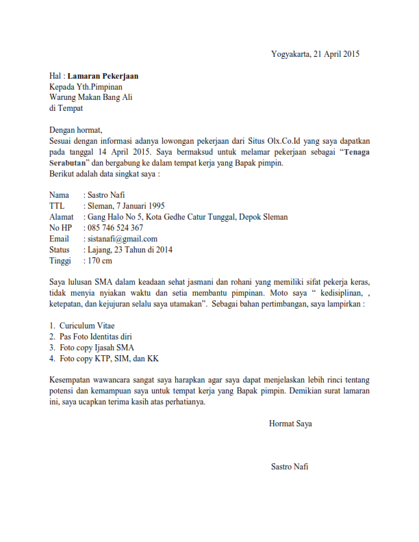 Surat Lamaran Kerja Serabutan