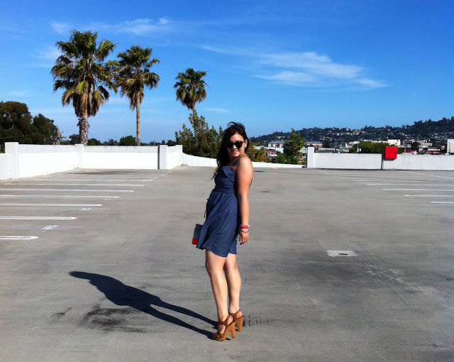 Chambray Dress + Neon Pink and Orange - Daily Outfit