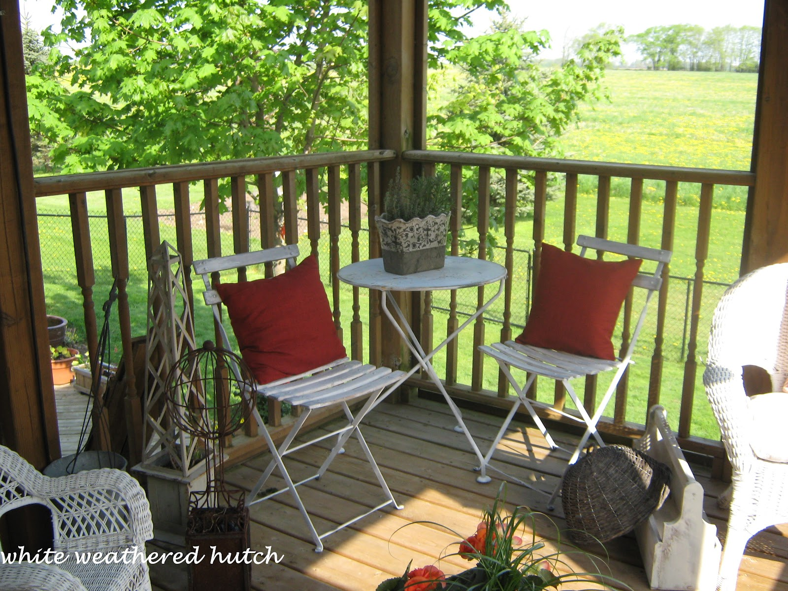 White Weathered Hutch: French Bistro Set finds a home...