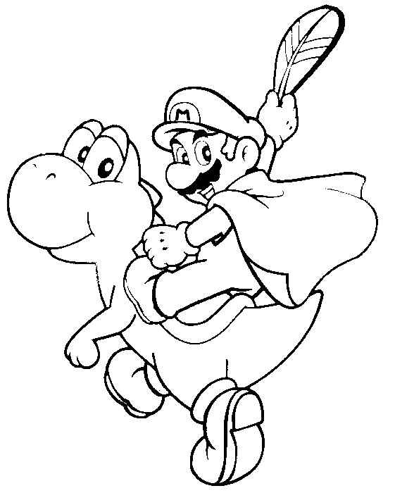 printable coloring pages - Mario Riding Yoshi Coloring Pages