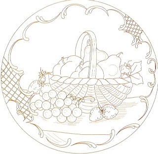 desenho de frutas na cesta para pintar