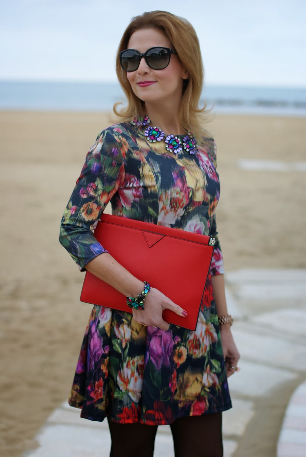 floral dress, Zara red clutch, Mercantia gioelli, Fashion and Cookies, fashion blogger