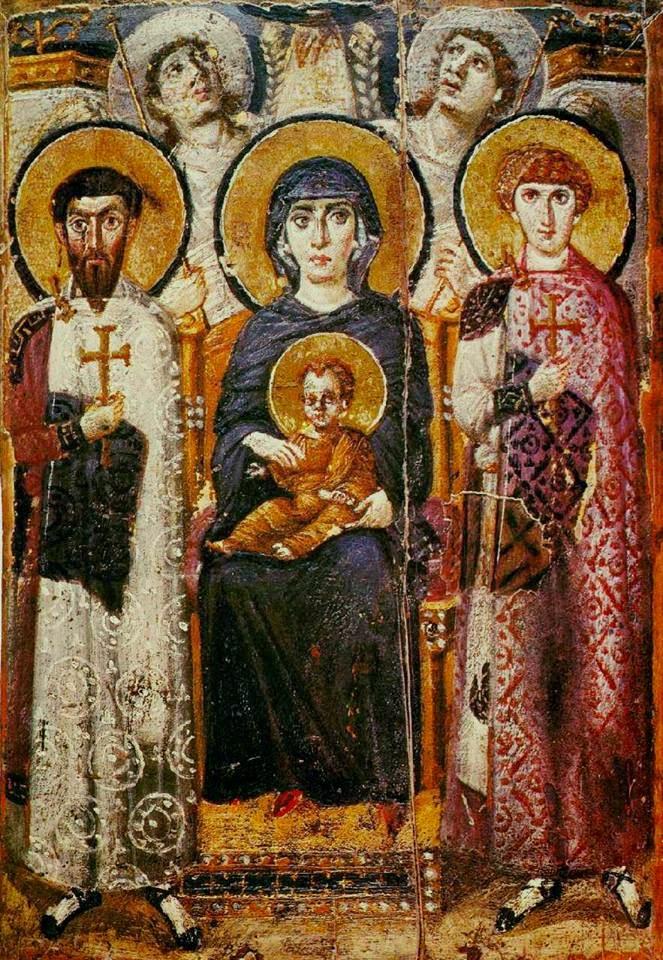 العذراء مريم بين قديسين