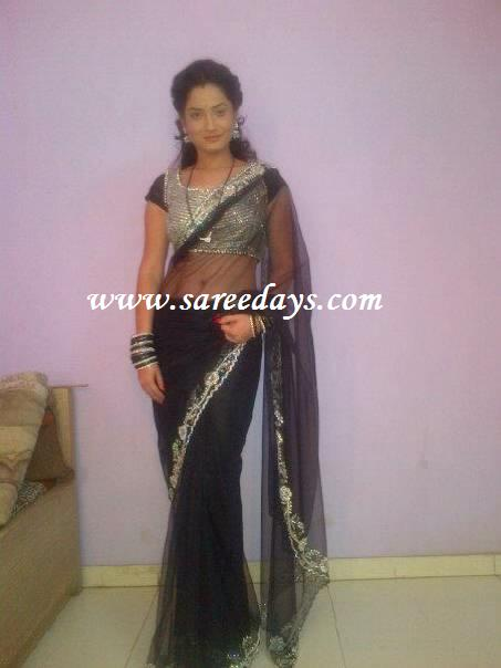 ankita lokhande in designer net black sareeAnkita Lokhande Black Saree