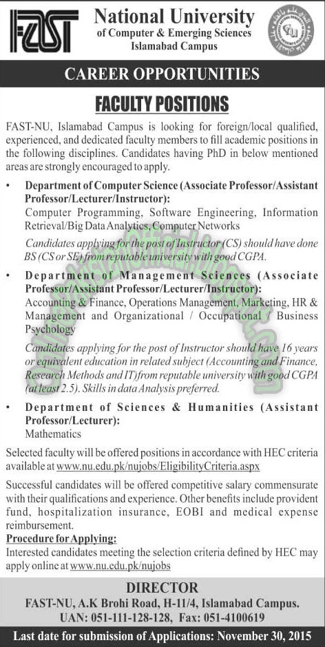 National University of Computer&Engineering Sciences, Islamabad 2015