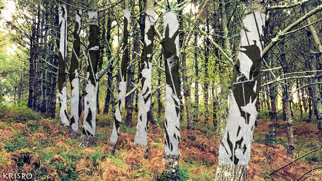arboles de jaizkibel pintados como mural