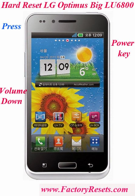 Hard Reset LG Optimus Big LU6800