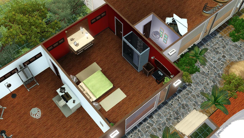 Maison de sims le loft du peintre c l bre - Chambre ouverte sur salle de bain ...