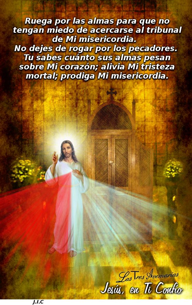 imagen que muestra a jesus misericordia con un confesionario atras y mensaje del diario