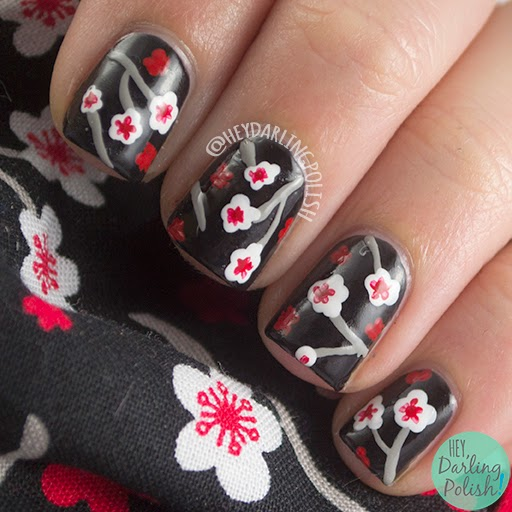 nails, nail art, nail polish, floral, pattern, hey darling polish, finger food theme buffet, black, japanese