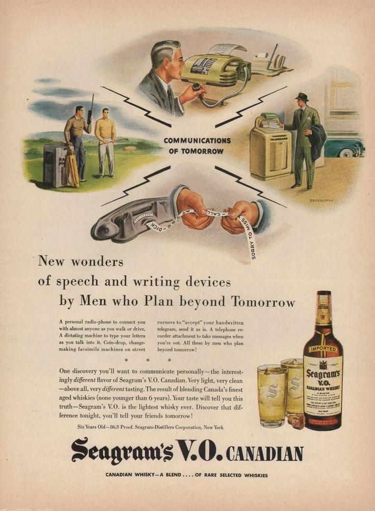 1947 Seagrams VO Canadian Flowers Cut in Summer Vintage Print Ad