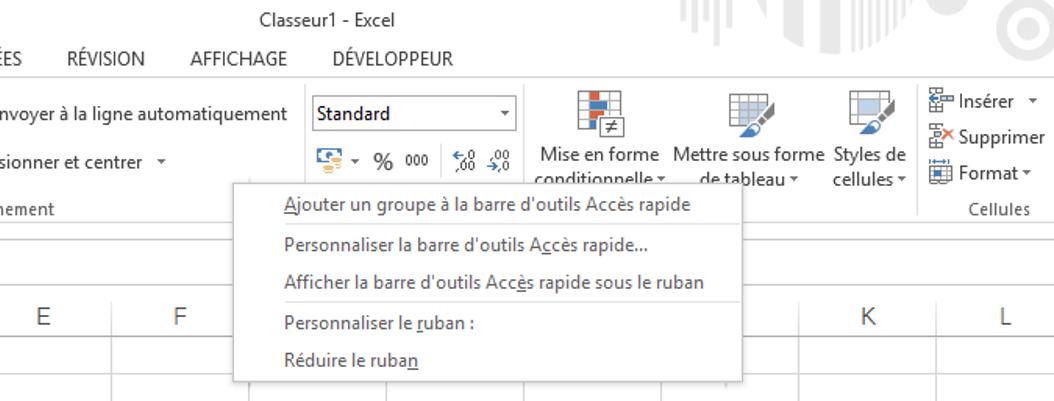 activation de l'onglet développer dans Excel