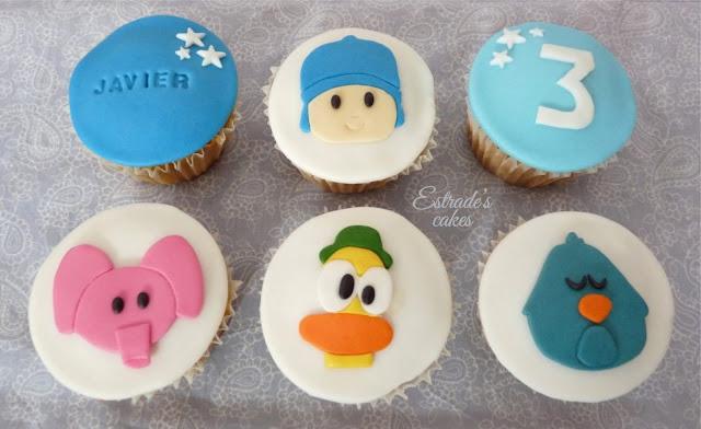 cupcakes de Pocoyo con fondant - 1