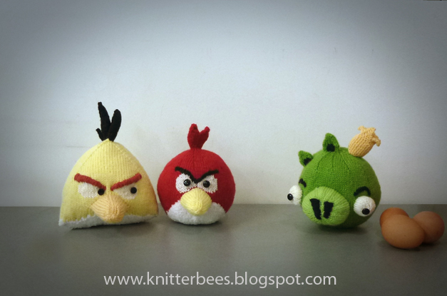 Knitterbees Angry Birds Red Yellow Bird And Green Pig Plush Toy