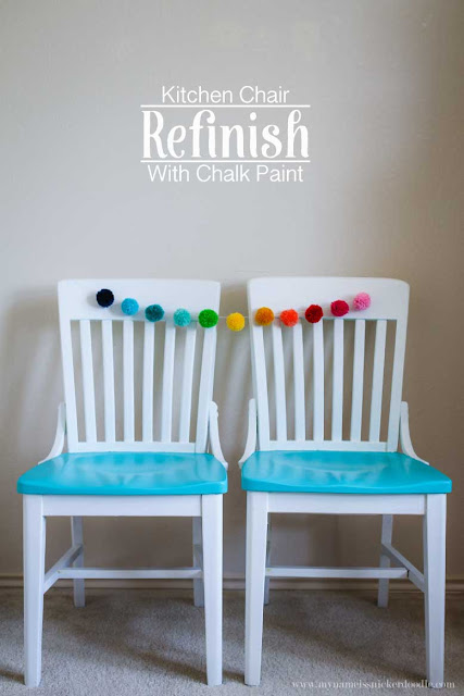 Such a fun kitchen chair refinish!  I love the pop of color.  How easy to use chalk paint, too!  |  mynameissnickerdoodle.com
