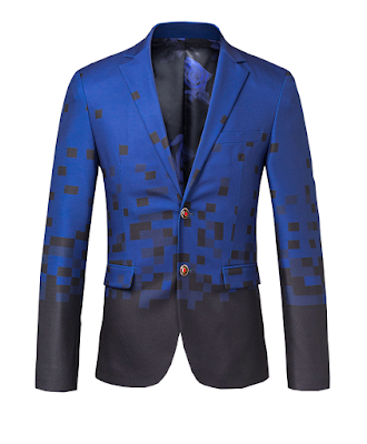 Pixelated Blue Black Creative Style Blazer At PerfectMensBlazers.Com