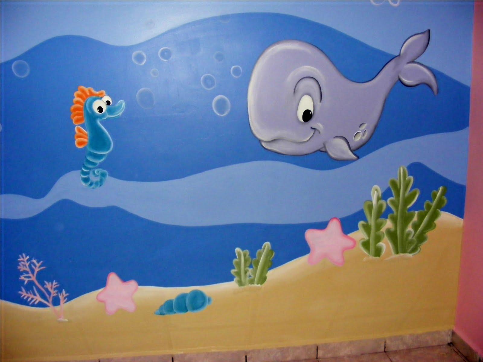 Murales infantiles acuario recamara de sofia - Decoracion acuario marino ...