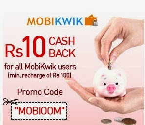 Mobikwik : 10 Rs and 50 Rs Cashback Promo still on