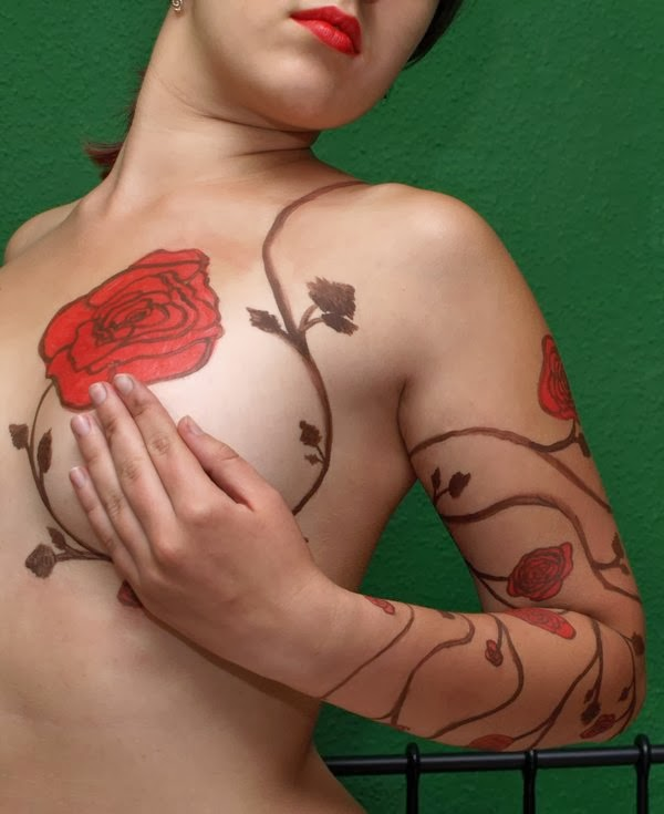 Flower Tattoo Designs on Girls Breast
