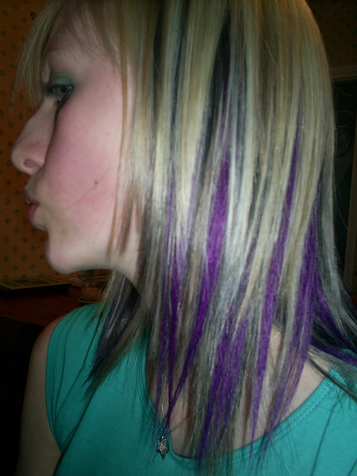 natural blonde with black and purple streaks ...