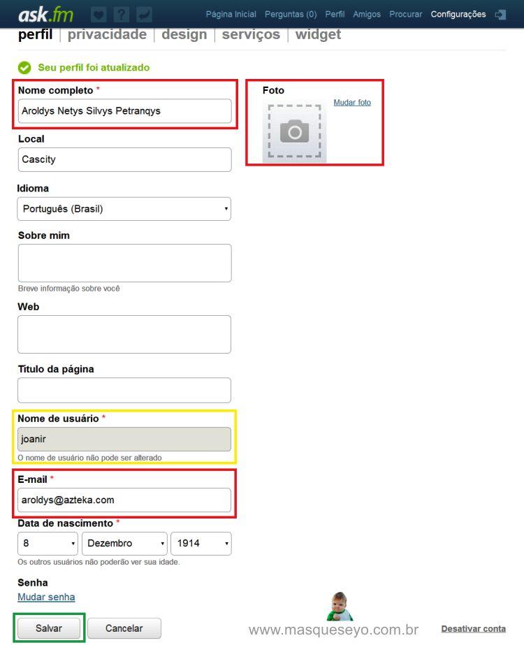 Desativar ask.fm - altere seus dados