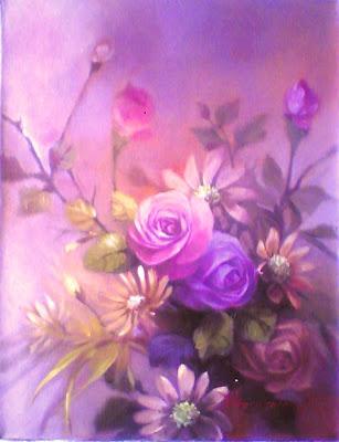 Lukisan bunga ros,lukisan bunga mawar,lukisan bunga bunga,lukisan bunga rose,bunga bakung,lukisan karya toto sukatma