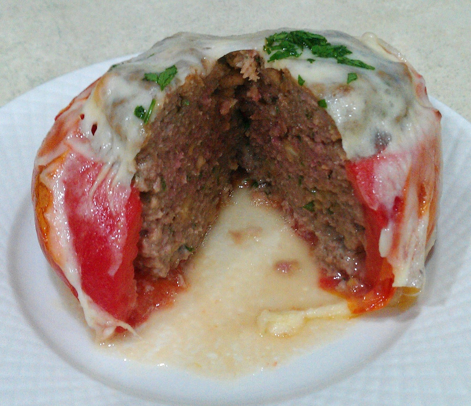 Roasted Tomatoes with Stuffed Italian Meatball, Melted ...