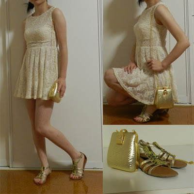 fashion, look, style, ootd, lace, white, gold