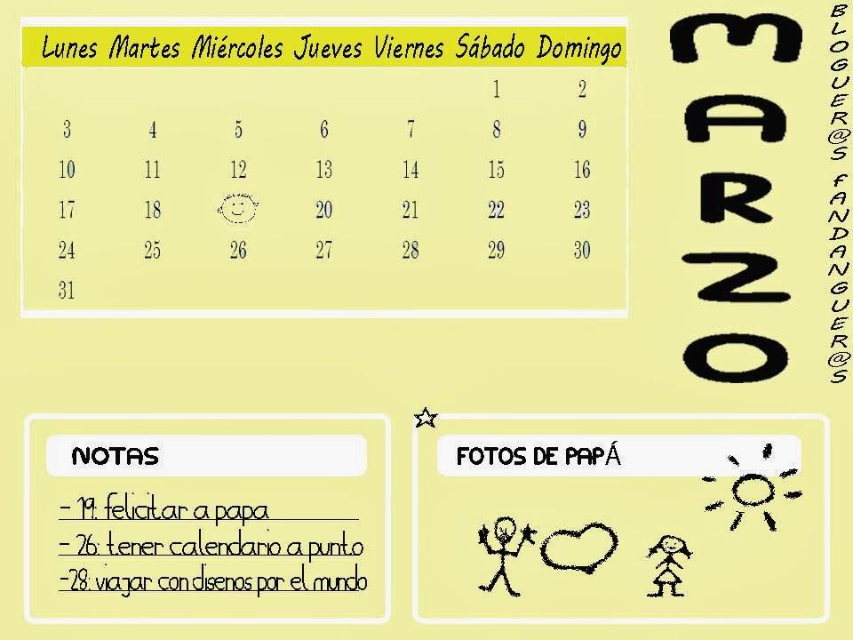 calendario Marzo cuatro