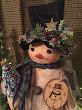 Handmade Primitive Standing Snowman With Tree And Ornament