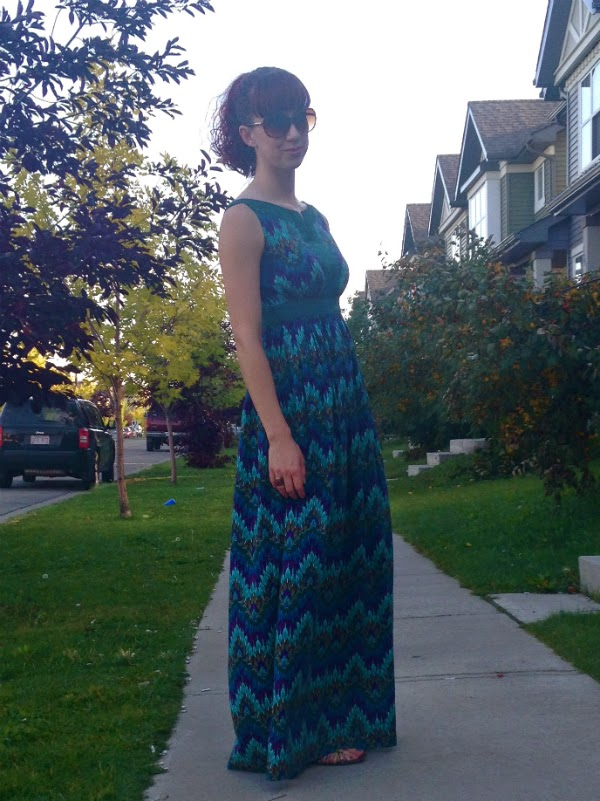 maxi dress, printed fabric