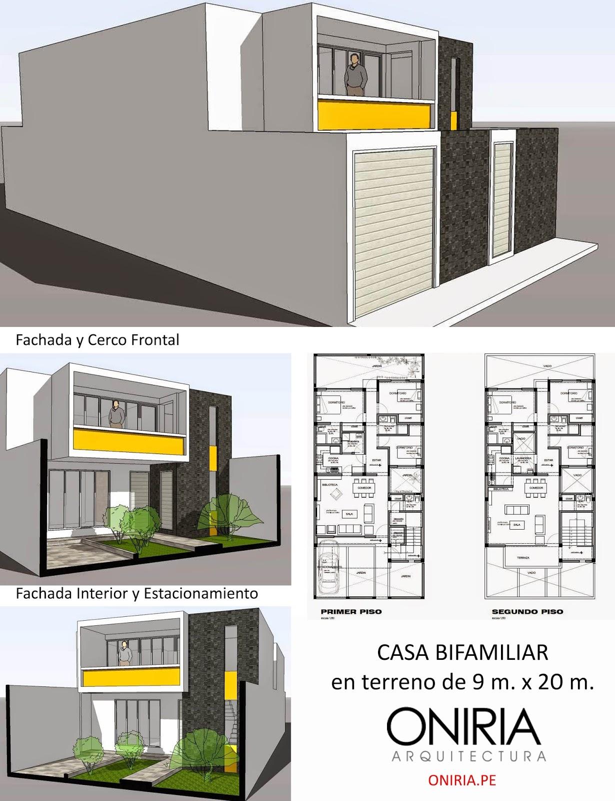 oniria casas bifamiliares en lotes de 9 x 20 m