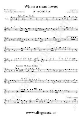 Tubepartitura When a man loves a woman de Percy Sledge partitura de Violín Balada Pop - Rock