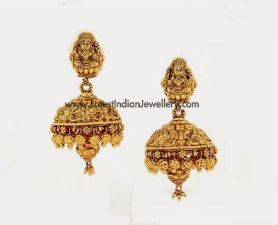 Gold Lakshmi Nagas Earrings