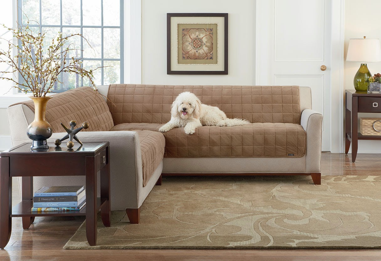 The deluxe armless sofa and loveseat covers in sable shown on the