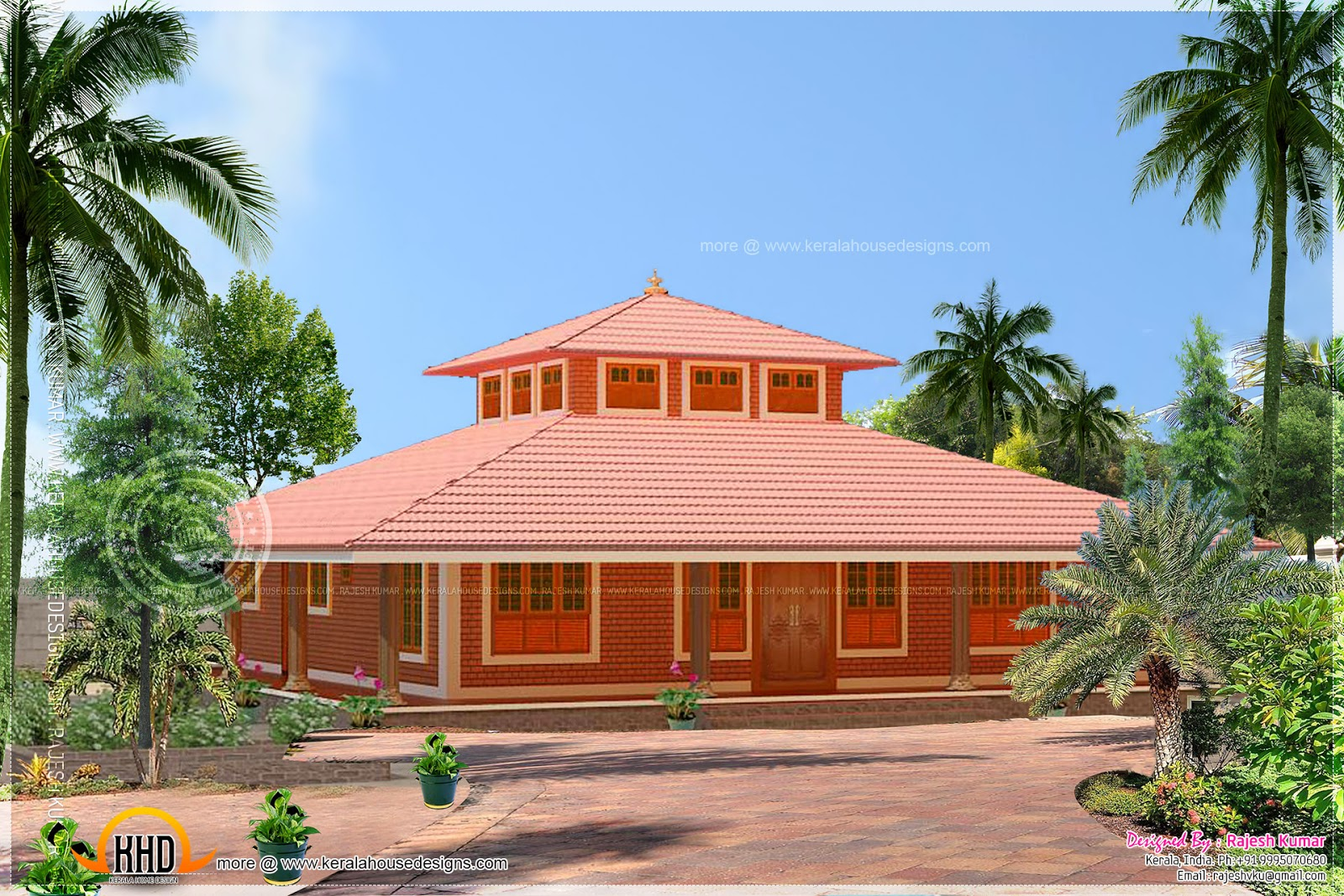 Single storied low cost brick home design kerala home for Low cost house plans with photos in kerala
