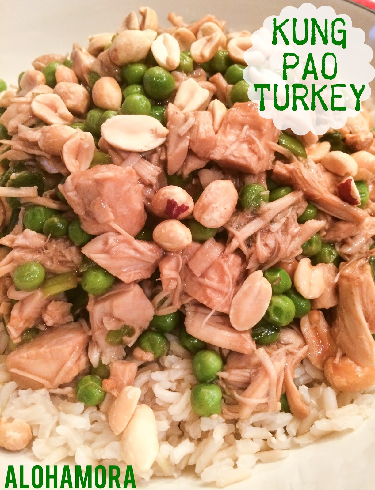 Kung Pao Turkey- a delicious and healthy stir-fry that uses your leftover turkey from Thanksgiving.  You could use chicken/rotisserie as well.  Delicious flavor, not too spicy, and a kid friendly dinner that can be made in 30 minutes.  Alohamora Open a Book http://alohamoraopenabook.blogspot.com/