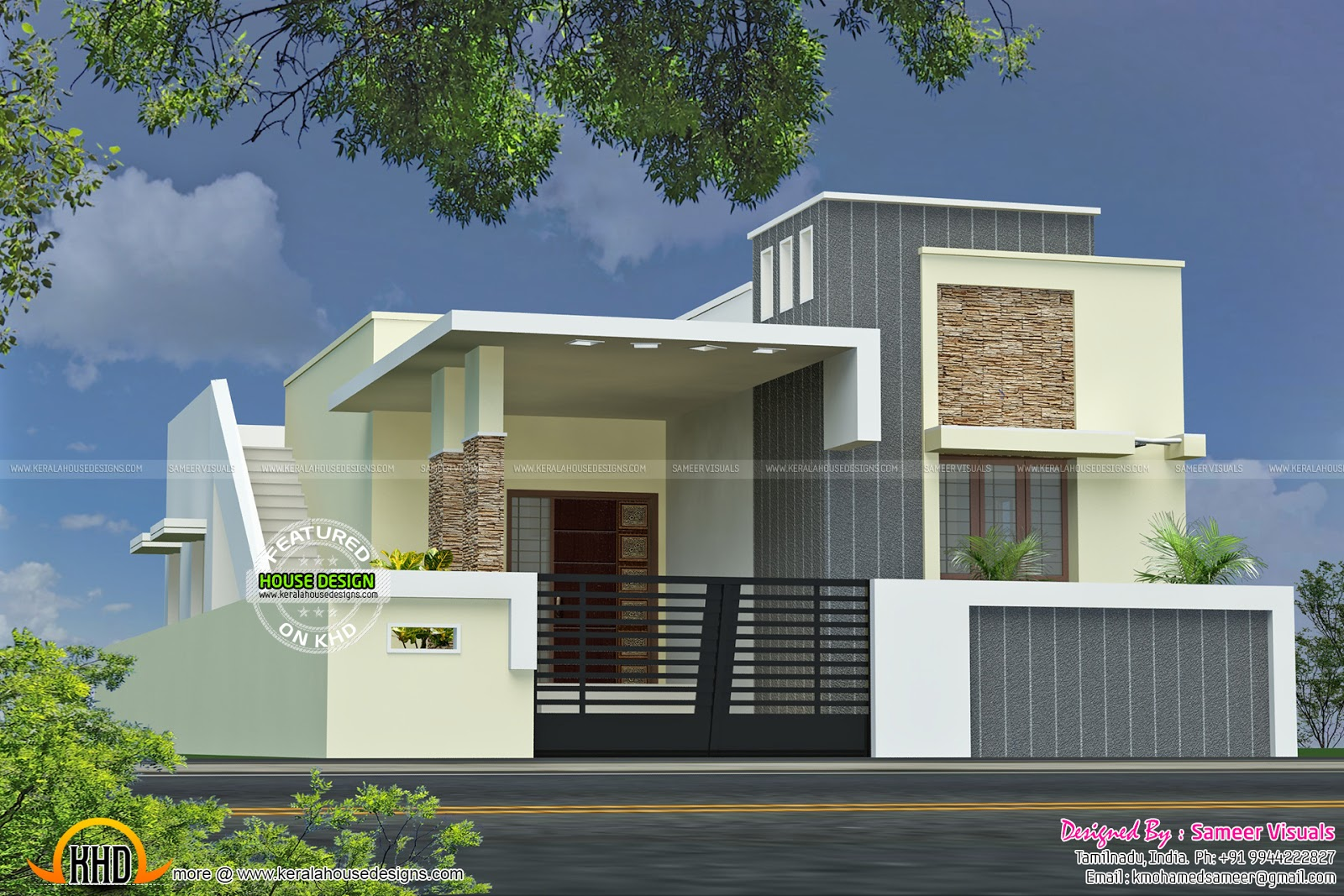Single Floor Simple Front Elevation : Single floor house with plan kerala home design and