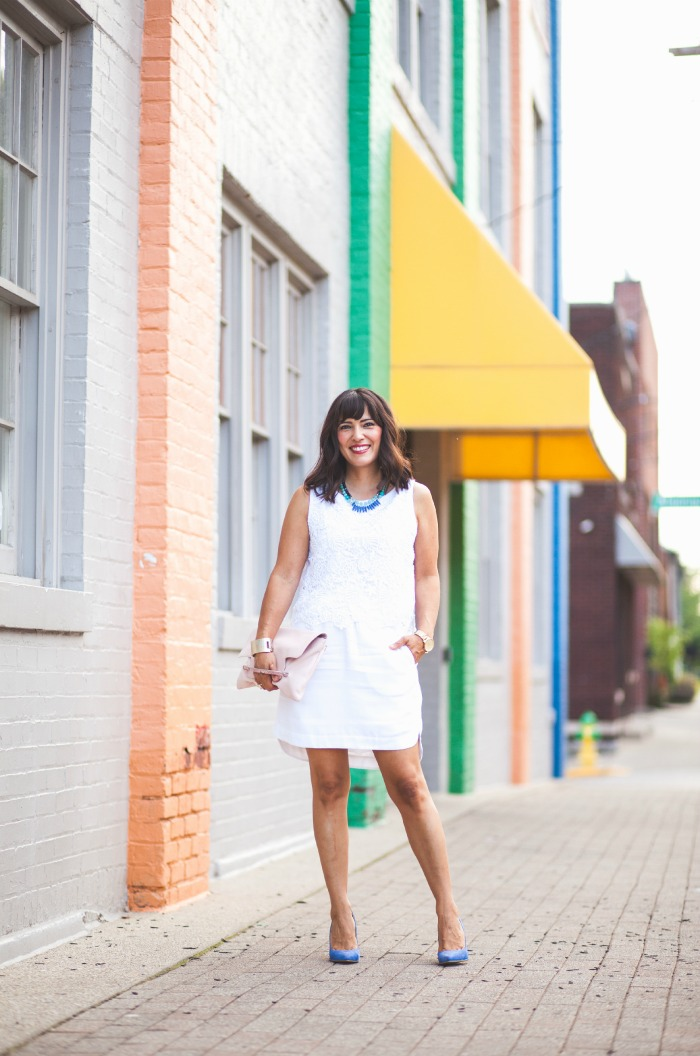 white on white - pop of blue and blush