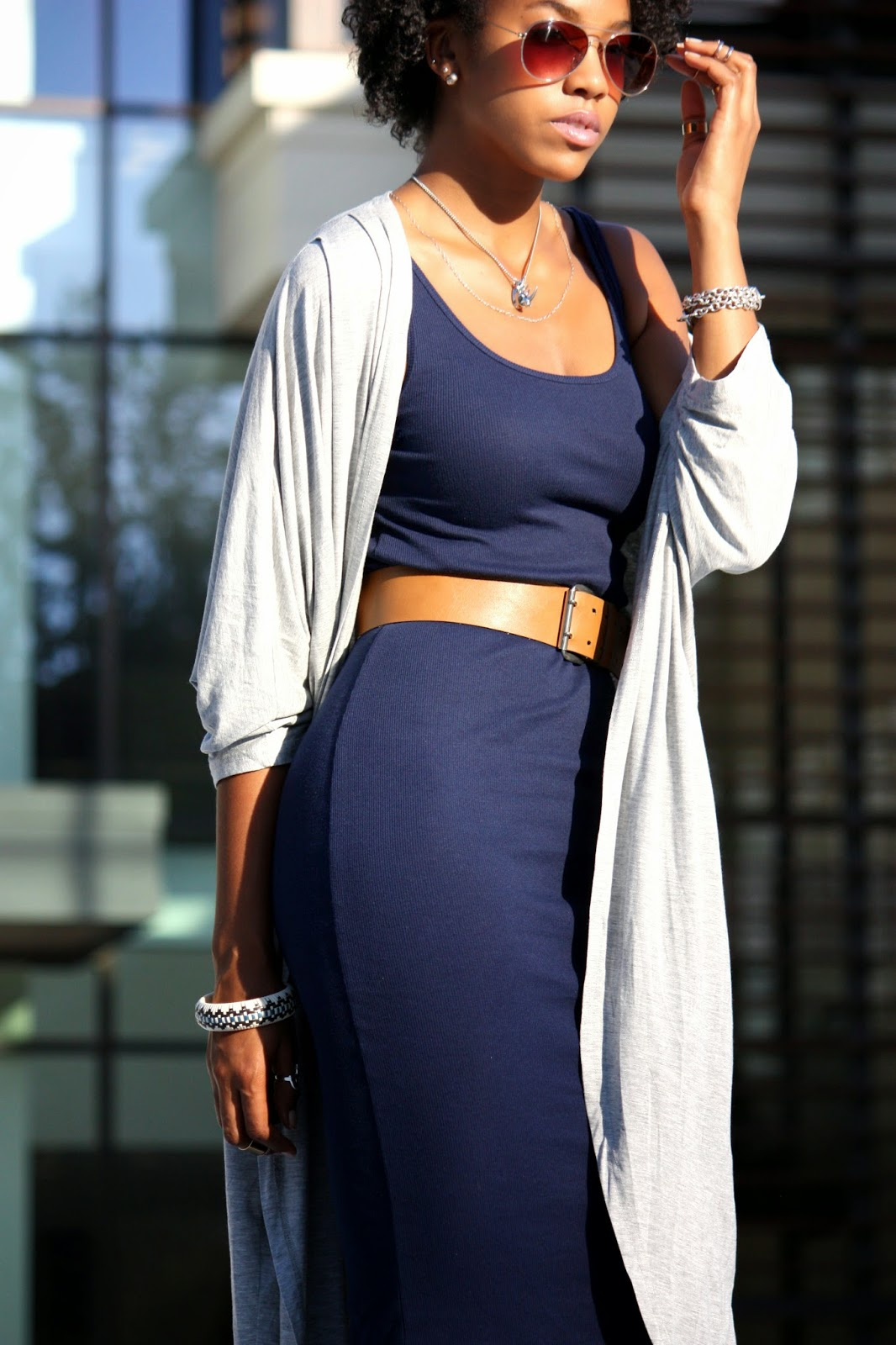 Wearing Topshop silver Rhino necklace and vintage leather belt