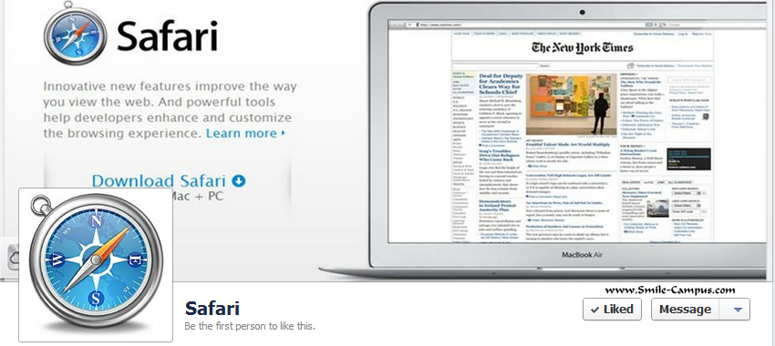 Facebook Fan Page of Safari Web Browser