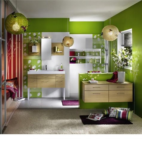 Modern luxury bedroom interior design in green