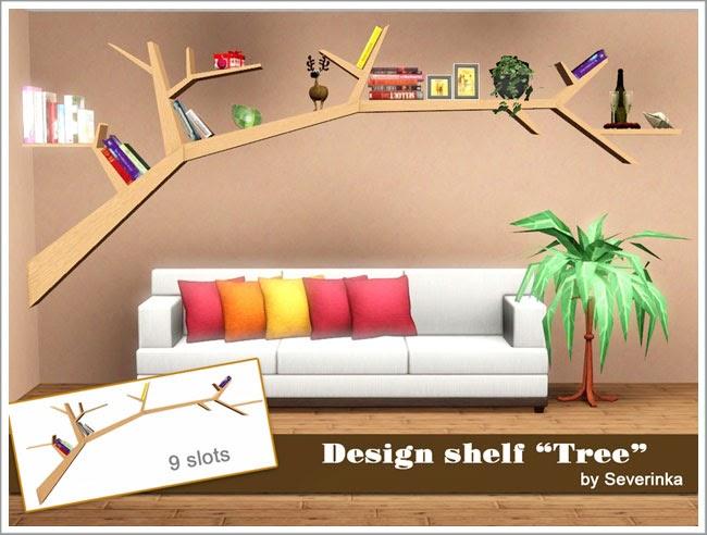 My sims 3 blog designer wood tree shelf by severinka for Tree of life bookshelf