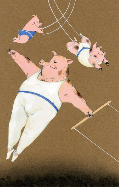 Illustration by Robert wagt of pigs flying on a trapeze in the circus