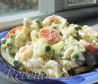 receita de macarrão com maionese e legumes
