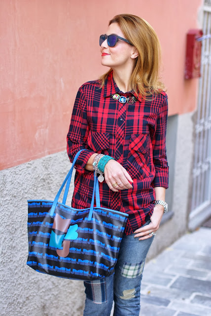 Zara tartan shirt, colorful statement necklace, Marc by Marc Jacobs tote, Fashion and Cookies, fashion blogger