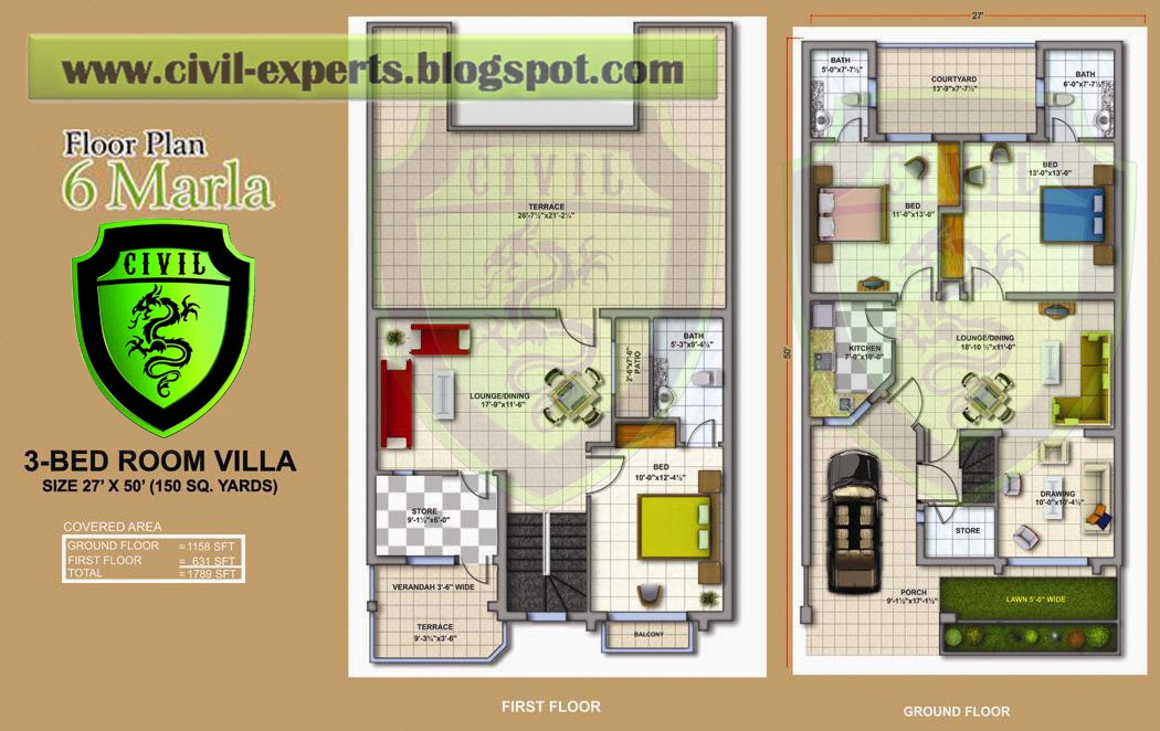 Civil Experts 6 Marla Houses Plans