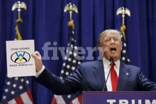 Make Picture That Donald Trump Caught Your Logo,Text