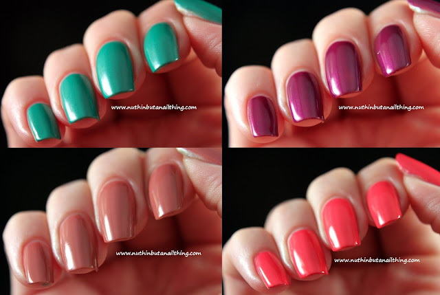 Sinful Colors Swatches: Fig, Rise and Shine, Vacation Time and Timbleberry